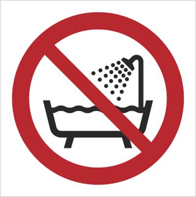 Znak Zakaz używania urządzenia w wannie, pod prysznicem i zbiornikach wypełnionych wodą (P26)