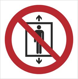Obrazek dla kategorii Znak Zakaz używania windy przez ludzi (P27)