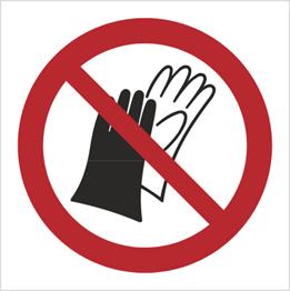 Obrazek dla kategorii Znak Zakaz używania rękawic roboczych (P28)
