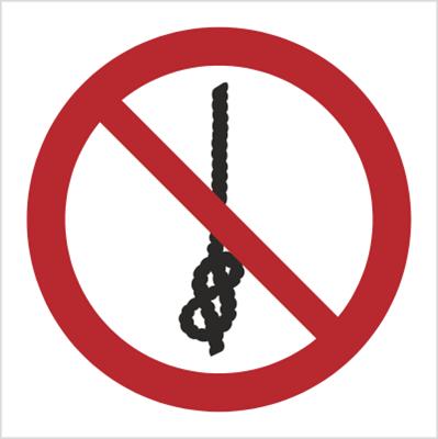 Znak Zakaz wiązania węzłów (P30)