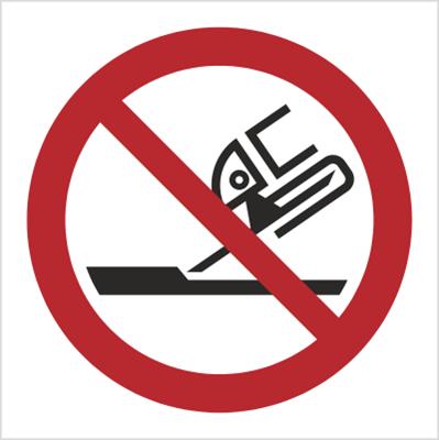 Znak Zakaz używania szlifierki (P32)
