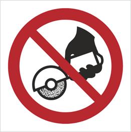 Obrazek dla kategorii Znak Zakaz używania szlifierki ręcznej (P34)