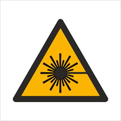 Znak Ostrzeżenie przed wiązką laserową (W04)