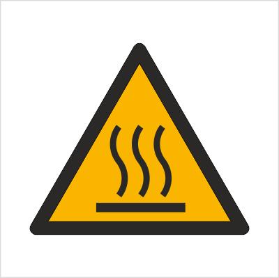 Znak Ostrzeżenie przed gorącą powierzchnią (W17)