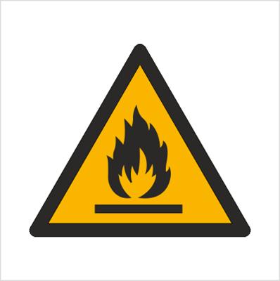 Znak Ostrzeżenie przed substancjami łatwopalnymi (W21)