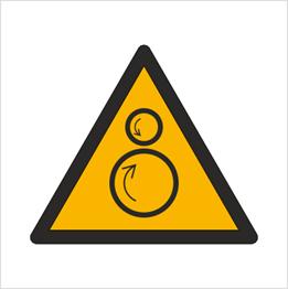 Obrazek dla kategorii Znak Ostrzeżenie przed ruchomymi rolkami (W25)