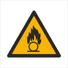 Obrazek dla kategorii Znak Ostrzeżenie przed substancjami o właściwościach utleniających (W28)