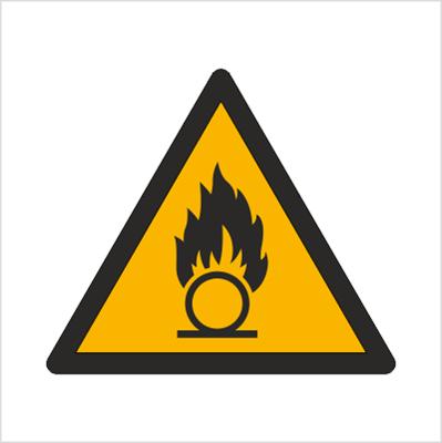 Znak Ostrzeżenie przed substancjami o właściwościach utleniających (W28)
