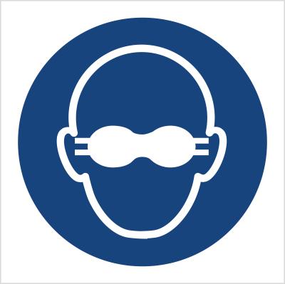 Znak Nakaz stosowania przyciemnianych gogli ochronnych (M07)