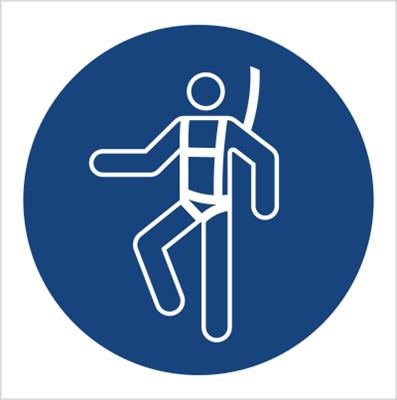 Znak Nakaz stosowania szelek bezpieczeństwa (M18)