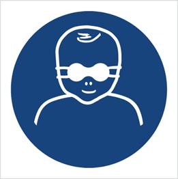 Obrazek dla kategorii Znak Nakaz ochrony wzroku dzieci przyciemnianymi okularami ochronnymi (M25)