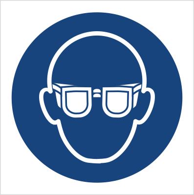 Znak Nakaz stosowania ochrony oczu (M04)