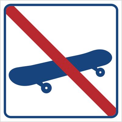 Zakaz jazdy na deskorolce (823-19)