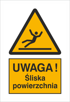 Znak Uwaga śliska nawierzchnia - znak podłogowy