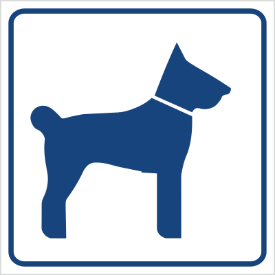 Tu wolno wchodzić ze zwierzętami (823-90)