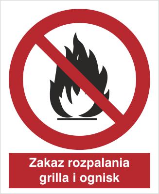 Znak Zakaz rozpalania grila i ognisk (601 - 01)