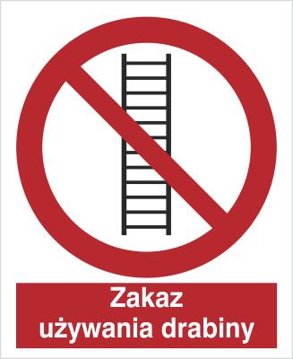 Znak Zakaz używania drabiny (607)