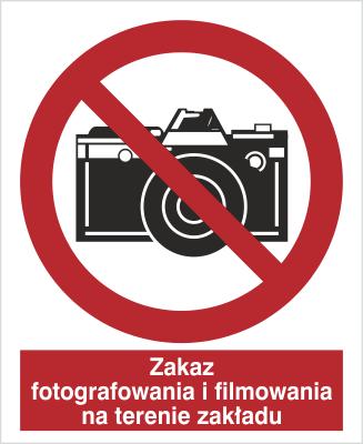 Znak Zakaz fotografowania i filmowania na terenie zakładu (609-01)