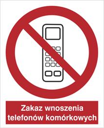 Obrazek dla kategorii Znak Zakaz wnoszenia telefonów komórkowych (610-02)