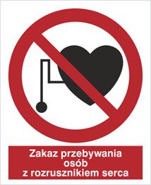 Obrazek dla kategorii Znak Zakaz przebywania osób z rozrousznikiem serca (616)