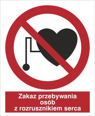 Znak Zakaz przebywania osób z rozrousznikiem serca (616)