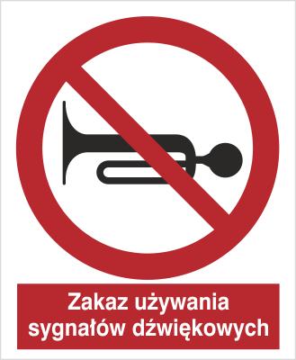 Znak zkaz używania sygnału dźwiękowego (628)