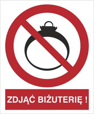 Znak Zakaz wchodzenia z biżuterią (639)