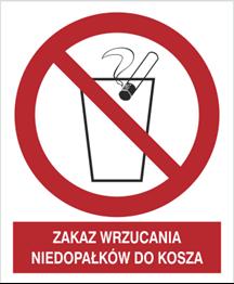 Obrazek dla kategorii Znak Zakaz wrzucania niedopałków do kosza (648)