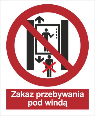 Znak Zakaz przebywania pod windą (652)
