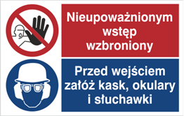 Obrazek dla kategorii Znak Nieupoważnionym wstęp wzbroniony. Przed wejściem załuż kask, okulary i słuchawki (520-01)
