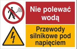 Obrazek dla kategorii Znak Nie polewać wodą. Przewody silnikowe pod napięciem. (520-10)
