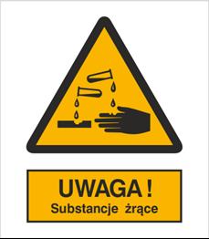 Obrazek dla kategorii Znak Uwaga substancje żrące (303)