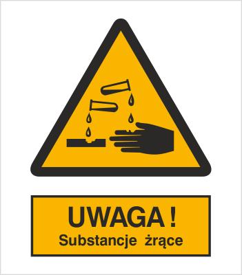 Znak Uwaga substancje żrące (303)