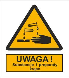 Obrazek dla kategorii Znak Ostrzeżenie przed substancjami i preparatami żrącymi (303-05)