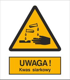 Obrazek dla kategorii Znak Uwaga kwas siarkowy (303-01)
