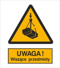 Obrazek dla kategorii Znak Ostrzeżenie przed wiszącymi przedmiotami (wiszącym ciężarem) (305)