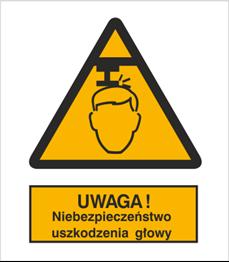 Obrazek dla kategorii Znak Ostrzeżenie przed niebezpieczeństwem uszkodzenia głowy (311)
