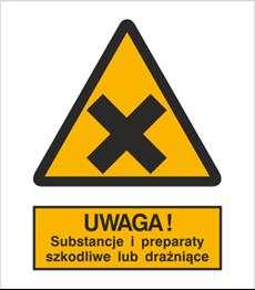 Obrazek dla kategorii Znak Ostrzeżenie przed substancjami i preparatami szkodliwymi lub drażniącymi (318-02)
