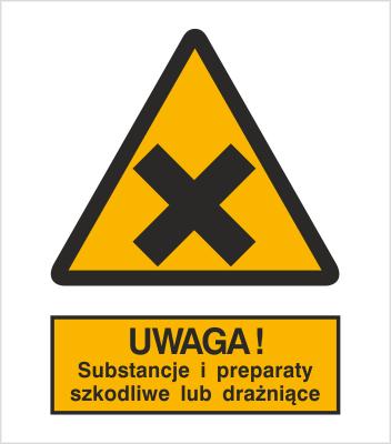 Znak Ostrzeżenie przed substancjami i preparatami szkodliwymi lub drażniącymi (318-02)