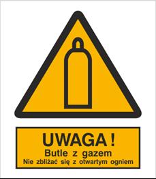 Obrazek dla kategorii Znak Uwaga! Butle z gazem. Nie zbliżać się z otwartym ogniem (321-01)