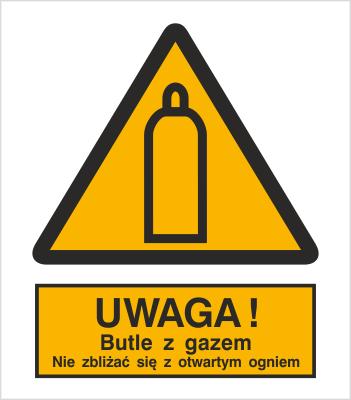 Znak Uwaga! Butle z gazem. Nie zbliżać się z otwartym ogniem (321-01)