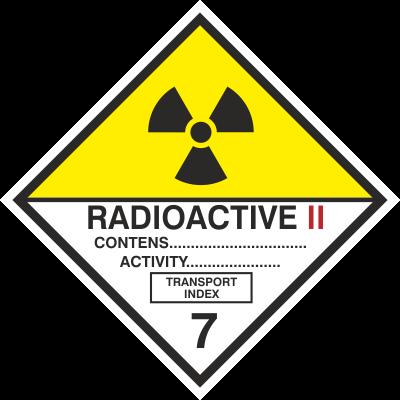Znak Materiały promieniotwórcze, kategoria II (215-17)