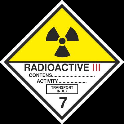 Znak Materiały promieniotwórcze, kategoria III (215-17)