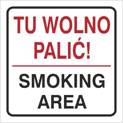 Znak Tu wolno palić Smoking area (702-76)