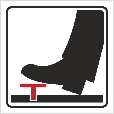 Znak Woda, obsługiwać pedałem (702-84)