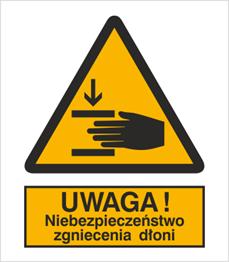 Obrazek dla kategorii Znak Ostrzeżenie przed zgnieceniem dłoni (327)