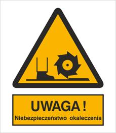 Obrazek dla kategorii Znak Uwaga! Niebezpieczeństwo okaleczenia (333)