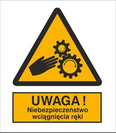 Obrazek dla kategorii Znak Ostrzeżenie przed niebezpieczeństwem wciągnięcia ręki (337)