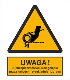 Obrazek dla kategorii Znak Uwaga! Niebezpieczeństwo wciągnięcia przez łańcuch, przekładnię lub pas (342)