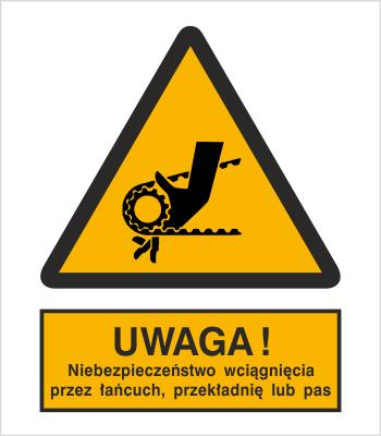 Znak Uwaga! Niebezpieczeństwo wciągnięcia przez łańcuch, przekładnię lub pas (342)